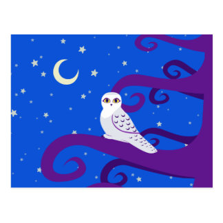 Snowy Owl Crescent Moon Night Forest Art Post Cards