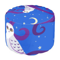 Snowy Owl Crescent Moon Night Forest Art Pouf