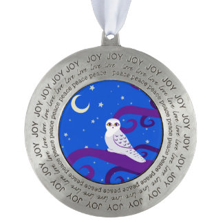 Snowy Owl Crescent Moon Night Forest Art Round Pewter Christmas Ornament