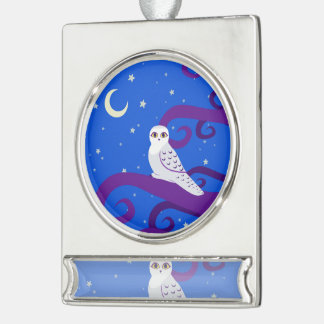 Snowy Owl Crescent Moon Night Forest Art Silver Plated Banner Ornament
