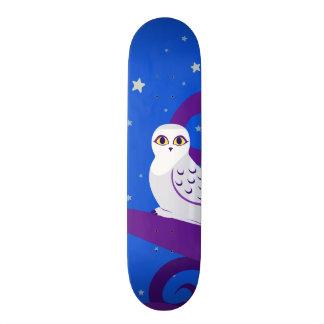 Snowy Owl Crescent Moon Night Forest Art Skate Board Decks