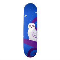 Snowy Owl Crescent Moon Night Forest Art Skateboard Deck