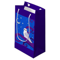 Snowy Owl Crescent Moon Night Forest Art Small Gift Bag