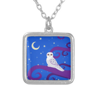 Snowy Owl Crescent Moon Night Forest Art Square Pendant Necklace