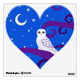 Snowy Owl Crescent Moon Night Forest Art Wall Decal