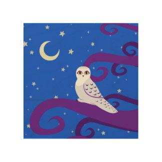 Snowy Owl Crescent Moon Night Forest Art Wood Print