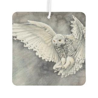 Snowy Owl Descent Watercolor Wildlife Art Air Freshener
