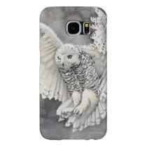 Snowy Owl Descent Wildlife Watercolor Art Samsung Galaxy S6 Case