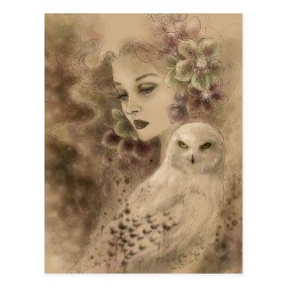 Snowy Owl Fantasy Art Postcard