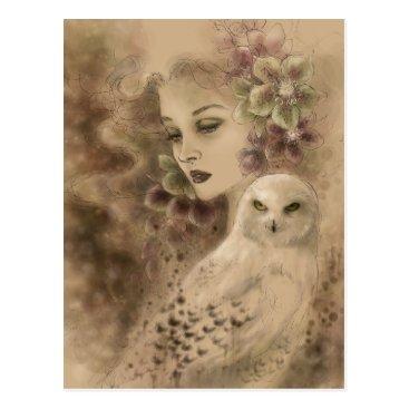 Christmas Themed Snowy Owl Fantasy Art Postcard