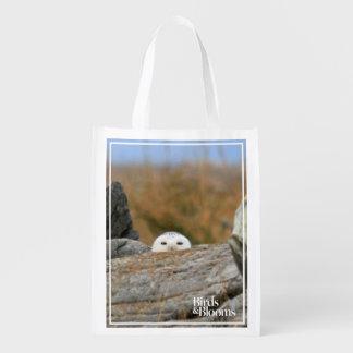 Snowy Owl Grocery Bags