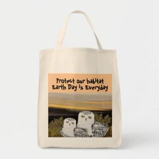 Snowy Owl Habitat Organic Grocery Tote