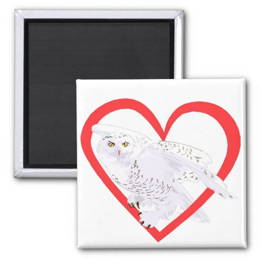 Snowy Owl Heart 2 Inch Square Magnet