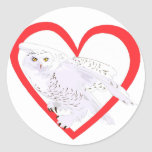Snowy Owl Heart Classic Round Sticker