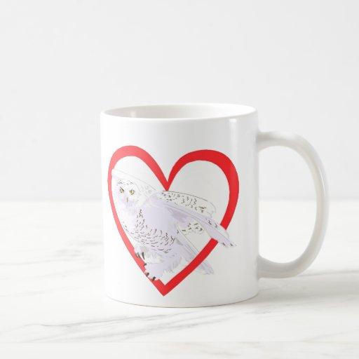 Snowy Owl Heart Classic White Coffee Mug