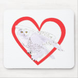 Snowy Owl Heart Mouse Pad