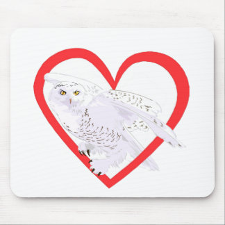 Snowy Owl Heart Mousepad