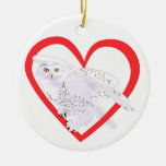 Snowy Owl Heart Double-Sided Ceramic Round Christmas Ornament
