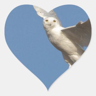 Snowy Owl Heart Sticker