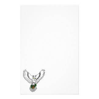 Snowy Owl Holding Two Wedding Rings Stationery