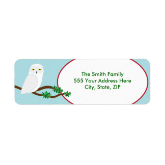 Snowy Owl Holiday Christmas Return Address Label