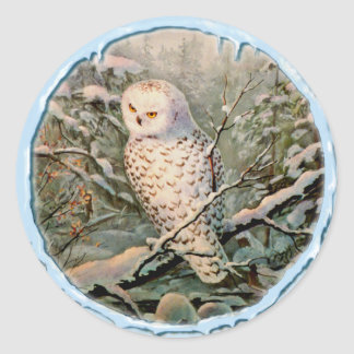 SNOWY OWL & ICICLES by SHARON SHARPE Round Sticker