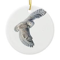 Snowy Owl in Flight Ceramic Ornament