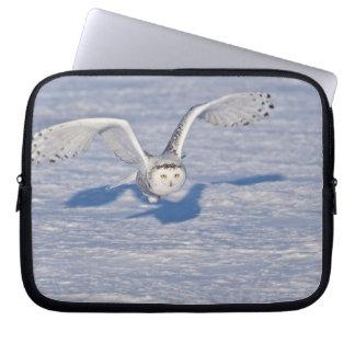 Snowy Owl in flight. Computer Sleeve