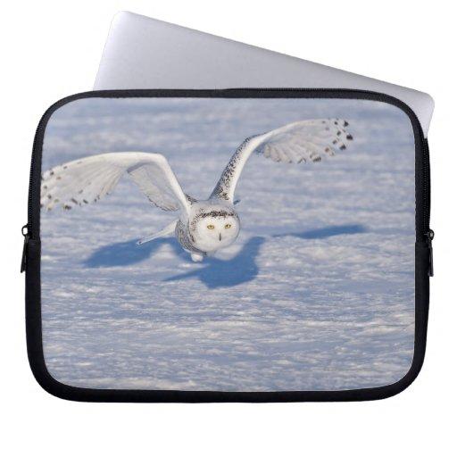 Snowy Owl in flight. Laptop Computer Sleeve
