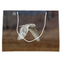 Snowy owl in flight large gift bag