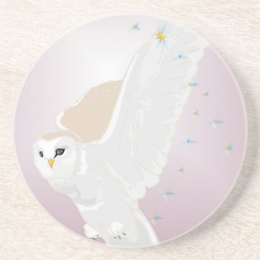 Snowy Owl in Flight on Lavender Background Drink Coasters