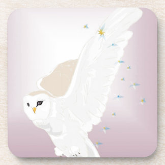 Snowy Owl in Flight on Lavender Background Drink Coaster