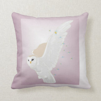 Snowy Owl in Flight on Lavender Background Throw Pillows