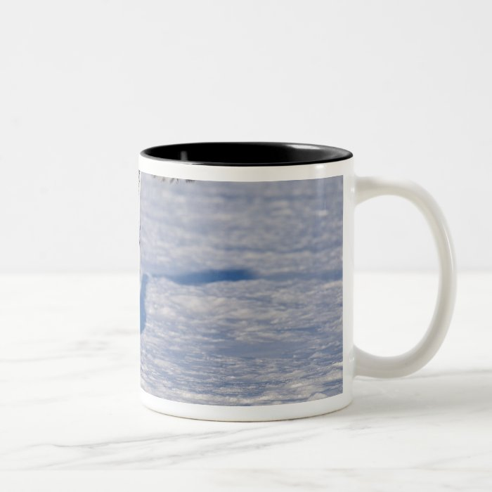 Snowy Owl in flight. Two-Tone Coffee Mug