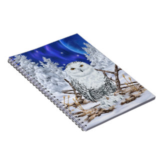 Snowy Owl in Snow Dark Blue Sky Notebook