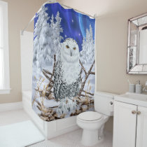 Snowy Owl in Snow Dark Blue Sky Shower Curtain