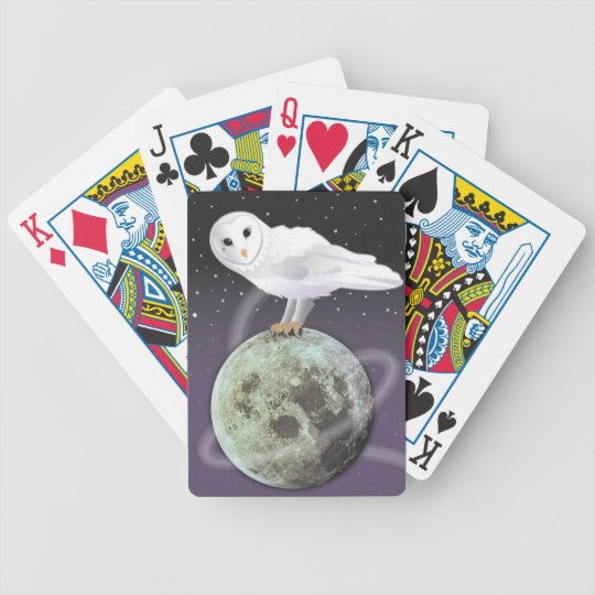 Snowy owl in the moonlight bicycle playing cards