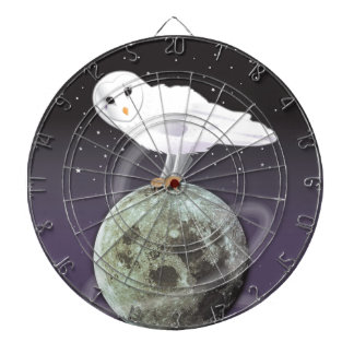 Snowy owl in the moonlight dartboard with darts