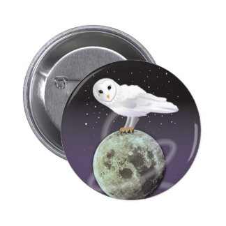 Snowy owl in the moonlight pinback buttons
