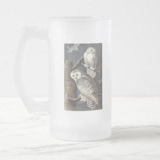 Snowy Owl, John Audubon Frosted Glass Beer Mug
