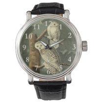 Snowy Owl John James Audubon Vintage Illustration Wrist Watch