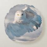 Snowy Owl landing on snow Round Pillow