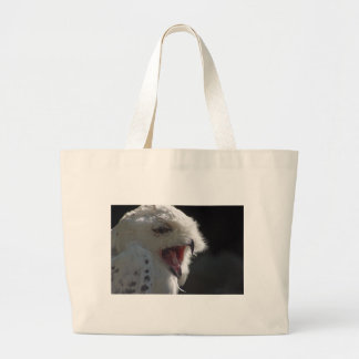 Snowy owl large tote bag