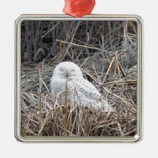 snowy owl metal ornament