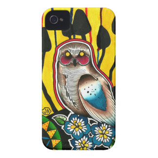 Snowy Owl Mushrooms and Morning Glory Flowers iPhone 4 Case