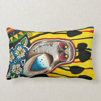 Snowy Owl Mushrooms and Morning Glory Flowers Pillow
