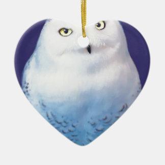 Snowy Owl Patter item Ceramic Ornament