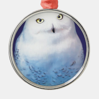 Snowy Owl Patter item Metal Ornament