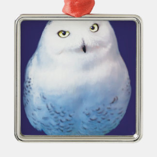 Snowy Owl Pattern Metal Ornament
