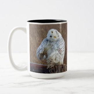 Snowy Owl Preening, FUN feather preening Mug